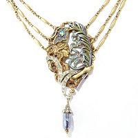 GOLDTONE THE PEACOCK FEATHERS ART NOUVEAU NECKLACE