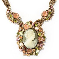 GOLDTONE PAISLEY JEWEL COLLAR NECKLACE W/DETACHABLE CAMEO