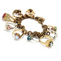 TWO-TONE ANTIQUE STYLE RINGS CHARM BRACELET