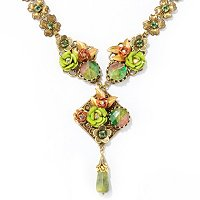 GOLDTONE SAGE AND KIWI NECKLACE