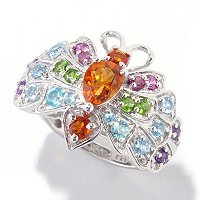 SS/P RING MULTI-GEMSTONE BUTTERFLY