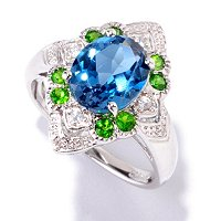 SS/P RING LONDON BLUE TOPAZ, CHROME DIOPSDE & WHITE ZIRCON ACCENTS