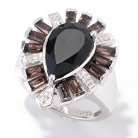 SS/P RING BLACK ONYX W/SMOKY QUARTZ ACCENTS