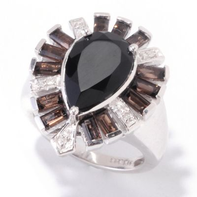 121-896 - NYC II 14 x 9mm Black Onyx & Smoky Quartz Accent Ring