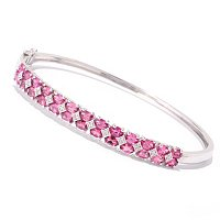 SS/P BRAC PINK TOURMALINE & WHT ZIRCON HINGED BANGLE