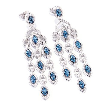 121-908 - Diamond Treasures Sterling Silver 0.75ctw Blue Diamond Drop Earrings