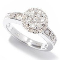 SS SOLITAIRE RING WITH CLUSTER TOP