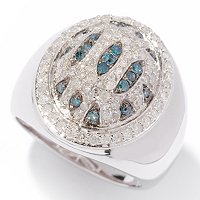 SS OVAL PAVE RING WITH BLUE WHITE DIAMOND ANIMAL PRINT