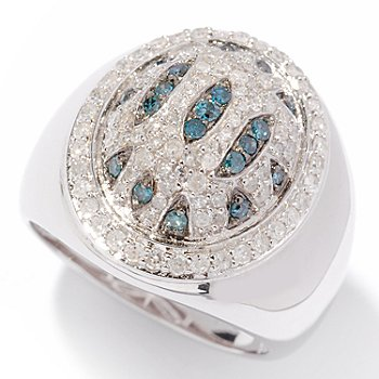 121-913 - Diamond Treasures Sterling Silver 0.75ctw Blue & White Diamond Animal Print Ring