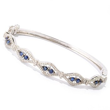 121-923 - Diamond Treasures Sterling Silver 1.73ctw Sapphire & Diamond Bangle Bracelet