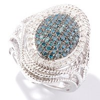 SS OVAL ROPE DETAIL RING PAVE CENTER BLUE DIAMOND WITH WHITE EDGE