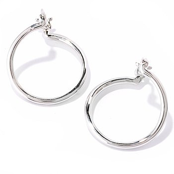 121-933 - Diamond Treasures Sterling Silver Classic Round Tube Earrings