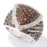 SS PAVE RED DIAMOND TRILLION RING