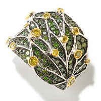 SS PAVE GREEN DIAMOND WITH WEB YELLOW DIAMOND OVERLAY RING
