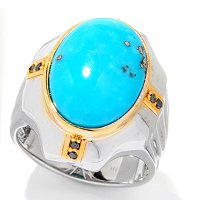 MEN'S - SS/PALL RING TURQUOISE & BLACK DIAMOND