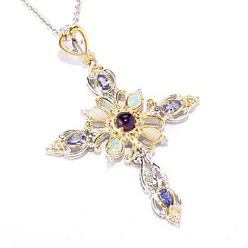 121-950 - Gems en Vogue II Multi Gemstone Cross Pendant w/ 18'' Chain