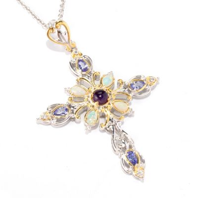 "121-950 - Gems en Vogue II Multi Gemstone Cross Pendant w/ 18"" Chain"