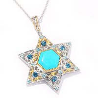 SS/PALL PEND MULTI-GEMSTONE STAR OF DAVID ENHANCER