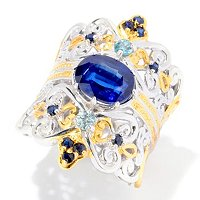 SS/PALL RING KYANITE & MULTI-GEMSTONE