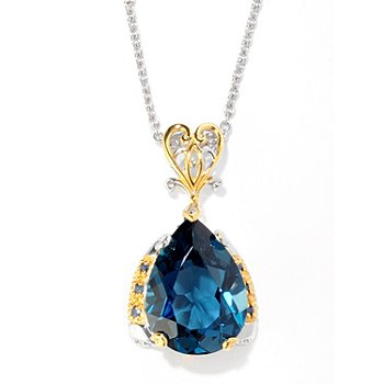 121-955 - Gems en Vogue II 12.12ctw London Blue Topaz & Blue Sapphire Pendant w/ Chain
