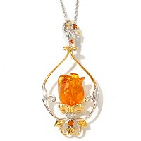"SS/PALL PEND BALTIC AMBER CARVED TULIP w/ 18"" CHAIN"