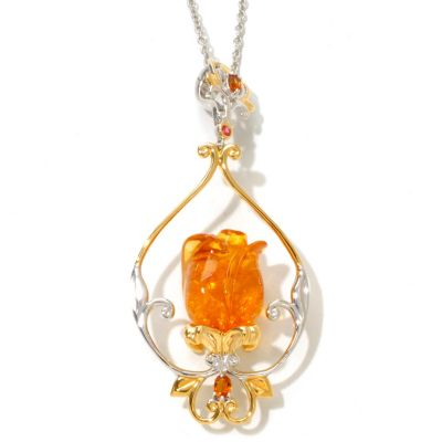 "121-956 - Gems en Vogue II 1.45ctw Carved Baltic Amber Tulip Pendant w/ 18"" Chain"