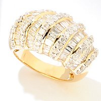 14K YG BAG AND ROUND MULTI ROW DIAMOND RING 3ctw