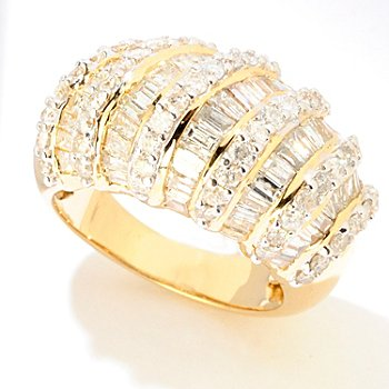 121-958 - Diamond Treasures 14K Gold 3.07ctw Baguette & Round Diamond Multi-Row Ring