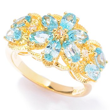 121-965 - NYC II 3.63ctw Blue & White Zircon Flower Ring