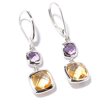 122-001 - Gem Insider Sterling Silver 5.20ctw Citrine & Amethyst Dangle Earrings