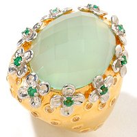 SS/YV DYED AQUA CHALCEDONY RING WITH EMERALD AND WHITE TOPAZ FLOWERS