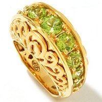 SS/YV PERIDOT RING ANNIVERSARY STYLE w/SATIN FINISH SCROLL