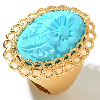 122-011 - Dallas Prince Designs 25 x 15mm Turquoise Flower Satin Finished Ring
