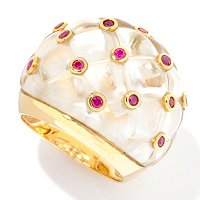 SS/YV CARVED DOME WITH BEZEL RUBY ACCENT RING
