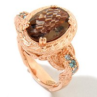 SS/RV SMKY QTZ & BLUE ZIRCON SHOULDER RING
