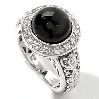 SS BLACK TOURMALINE AND WHITE SAPP RING
