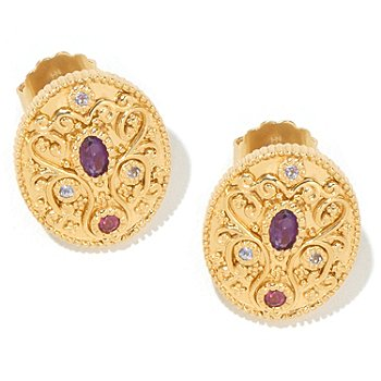 122-022 - Dallas Prince Designs Amethyst, Rhodolite & Tanzanite Oval Earrings