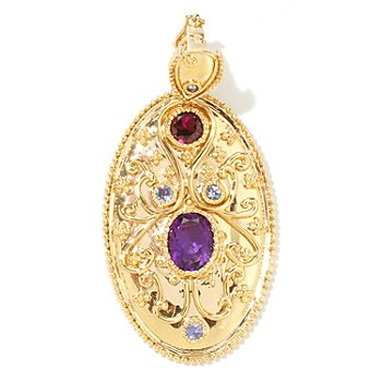 122-023 - Dallas Prince Designs 4.20ctw Amethyst, Rhodolite & Tanzanite Enhancer Pendant