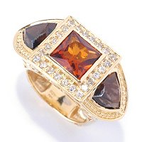 SS/YV 3 STONE RING WITH LND TOPAZ, RUBY AND AMY WITH WHT SAPP