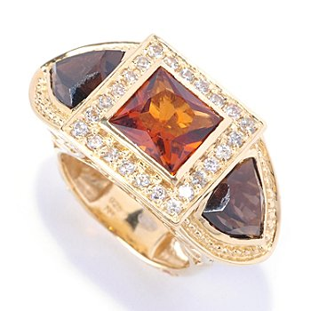 122-035 - Dallas Prince Designs 8mm Square & Trillion Multi Gemstone Three-Stone Ring