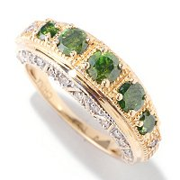 14K YG GREEN DIAMOND 5 STONE ANNIVERSARY RING