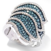SS BLUE DIAMOND WING RING