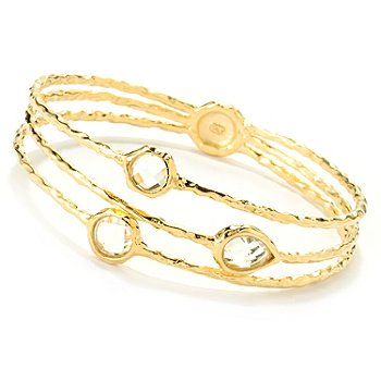 122-062 - Toscana Italiana Gold Embraced™ 3.39ctw White Topaz Fancy Split Bangle Bracelet