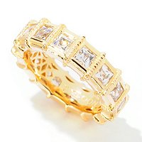 TYCOON SS/CHOICE SQUARE TYCOON CUT BEZEL SET STATION ETERNITY BAND RING