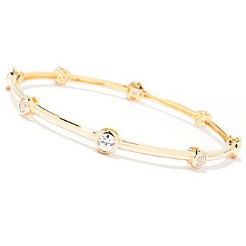 "122-073 - TYCOON for Brilliante® 8"" Tycoon Cut Bezel Set Slip-On Bangle Bracelet"