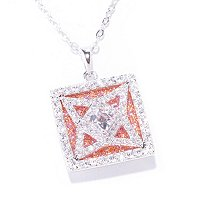 TYCOON SS/TWO TONE PAVE AND SQUARE TYCOON CUT LOGO PENDANT W/ PINK BACKGROUND