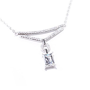 "122-078 - TYCOON for Brilliante® Platinum Embraced™ 18"" 3.31 DEW Rectangular Cut Drop Necklace"