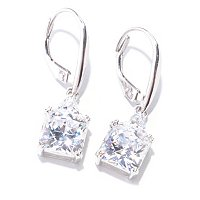 BLTA SS/PLAT SQUARE AND TRILLION DROP EARRINGS