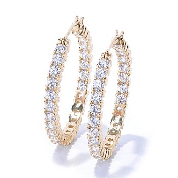 122-091 - Brilliante® 3.78 DEW Round Cut Simulated Diamond Inside-Out Hoop Earrings