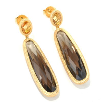 122-109 - Michelle Albala 15.72ctw Elongated Smoky Quartz & Gemstone Drop Earrings